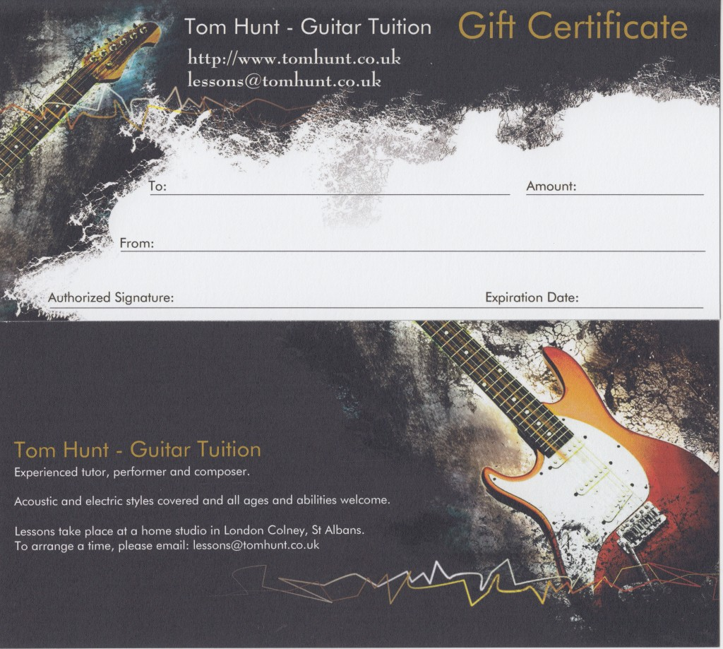 Tom Hunt Guitar gift vouchers