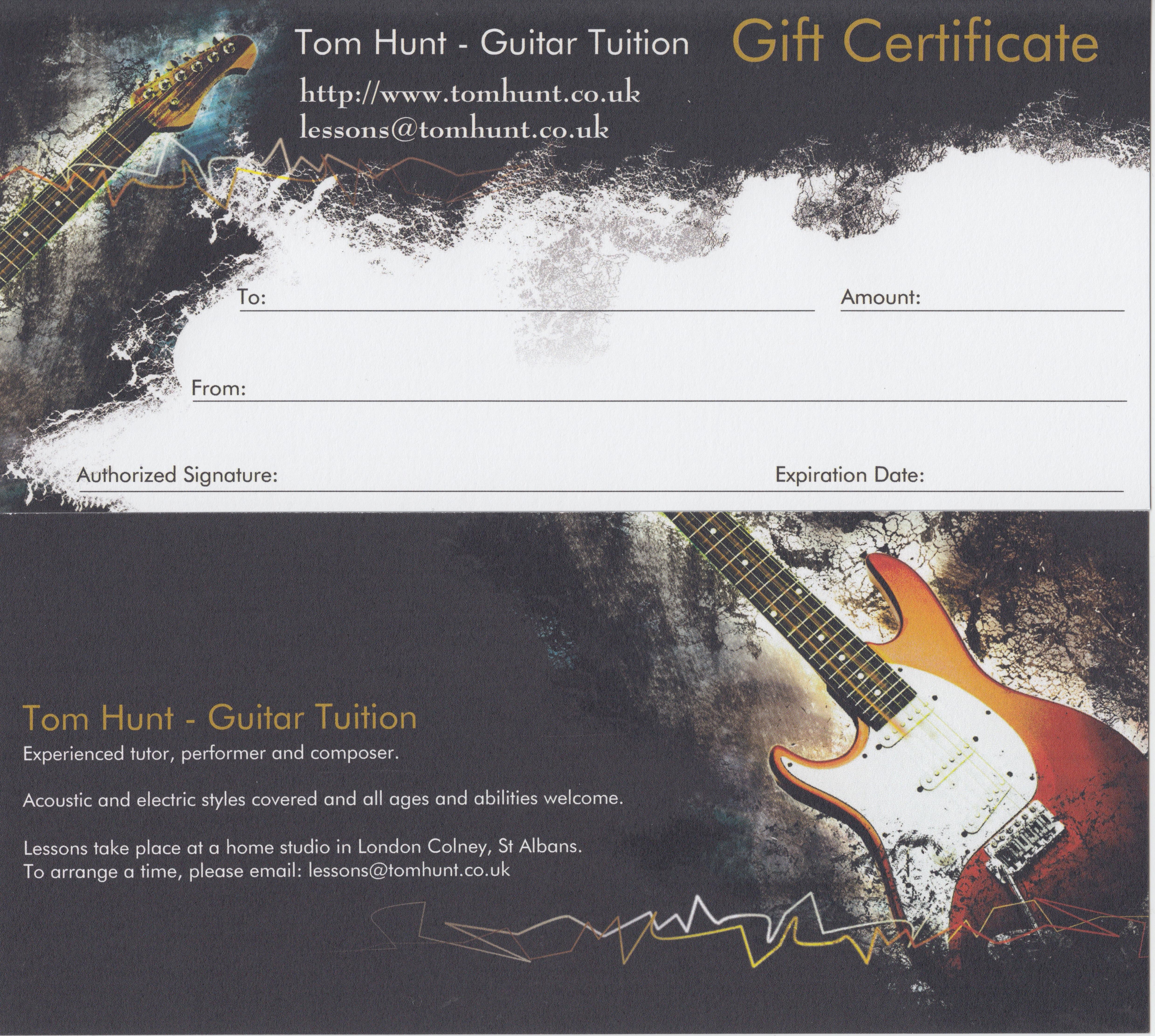 Tom Hunt Guitar gift vouchers